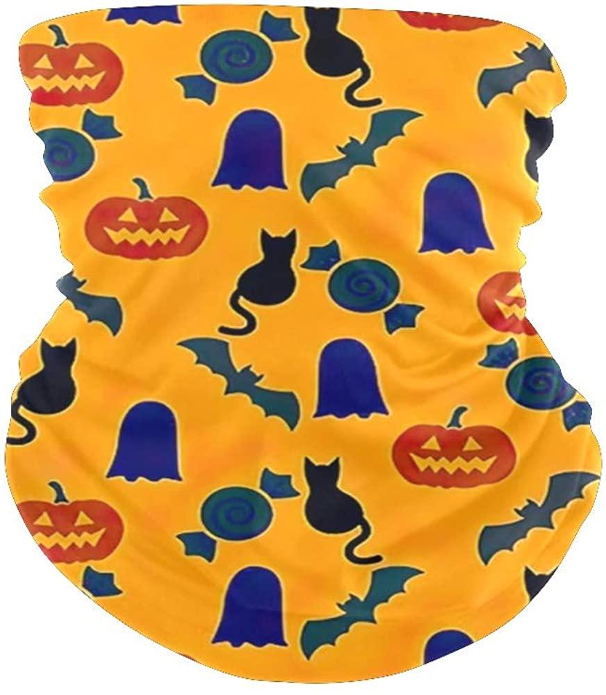 Balaclava Face Scarf Bandanas Halloween Pumpkin Candy Neck Gaiter for Festival Out Doors Dust UV Protection