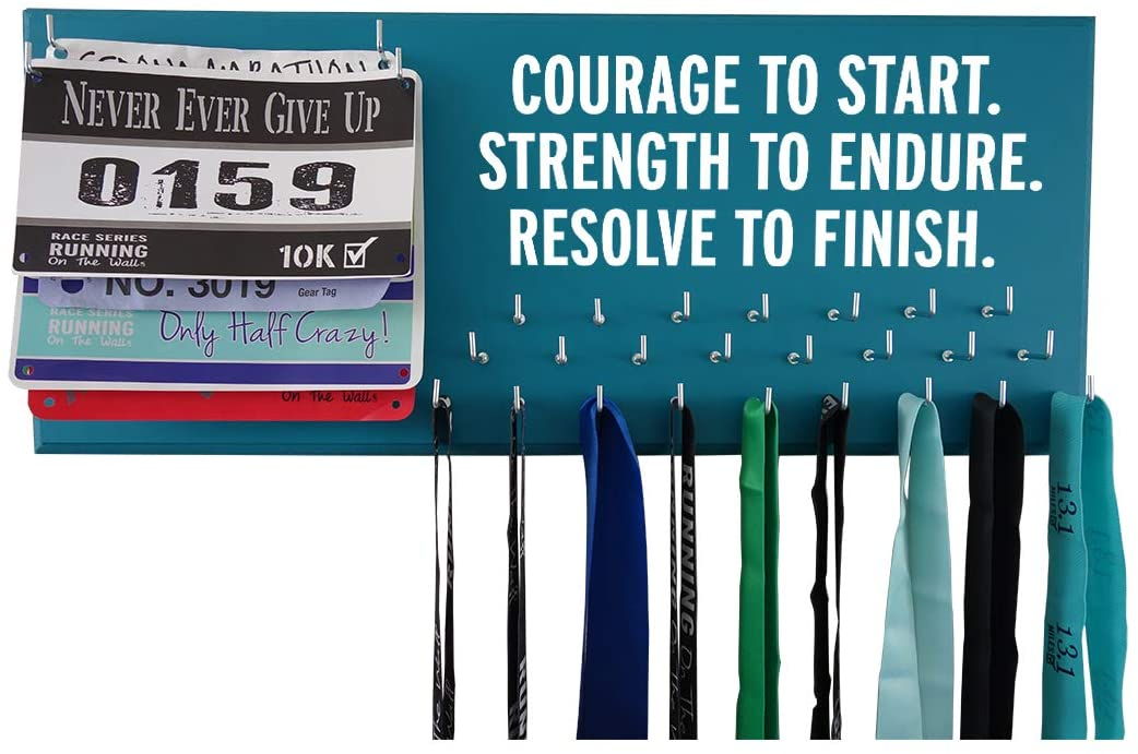 Running On The Wall - Race Bib and Medal Display Rack- Wall Mounted Sports Medal Holder and Hanger for 5K, 10K and Marathons Runners - Courage to Start. Strength to Endure. Resolve to Finish