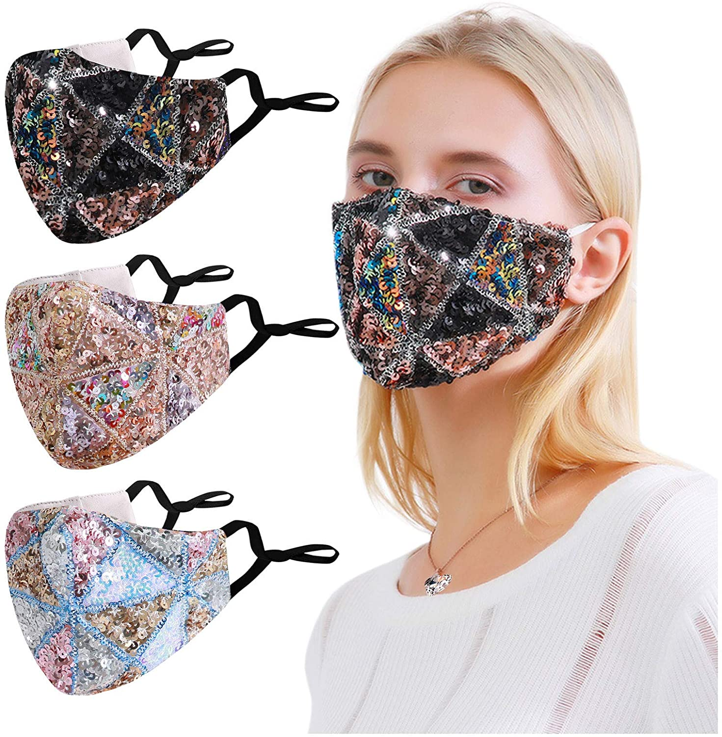 Selinora Adjustable Bling Sequin Washable Reusable Windproof Anti-Spitting Face_ Mask Halloween Masquerade Party Outdoor