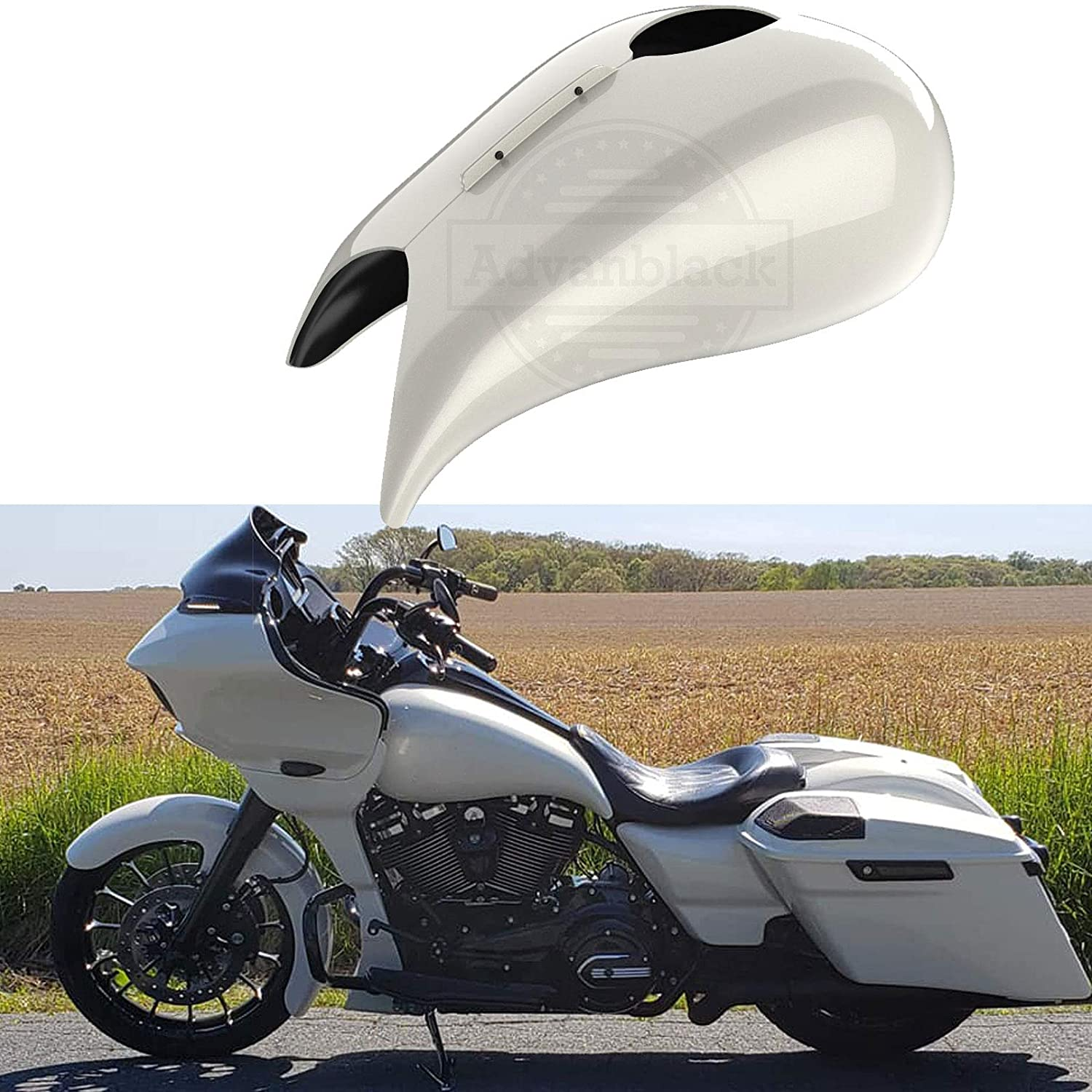 Advanblack Stretched Tank Covers Gallon Fuel Shrouds Fit for Harley Touring 2008-2020 Street Glide Road Glide (Bonneville Salt Pearl)