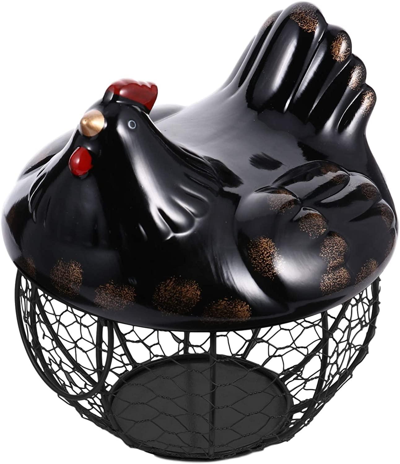 VOSAREA Ceramic Egg Basket Metal Mesh Wire Egg Storage Basket Egg Fruit Snacks Holder Kitchen Decoration with Lid(Black)