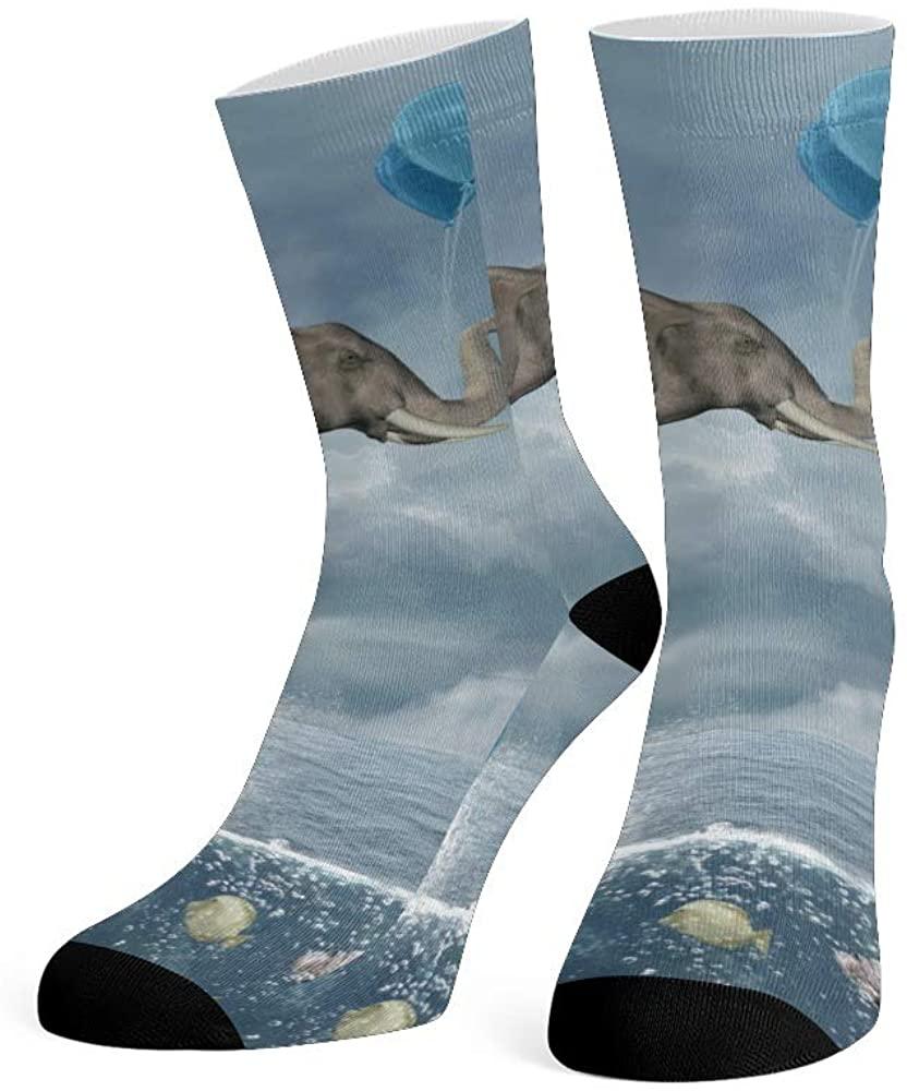 XOZOTY Custom Funny Novelty Black and Gold Elephants Crew Socks for Mens Womens
