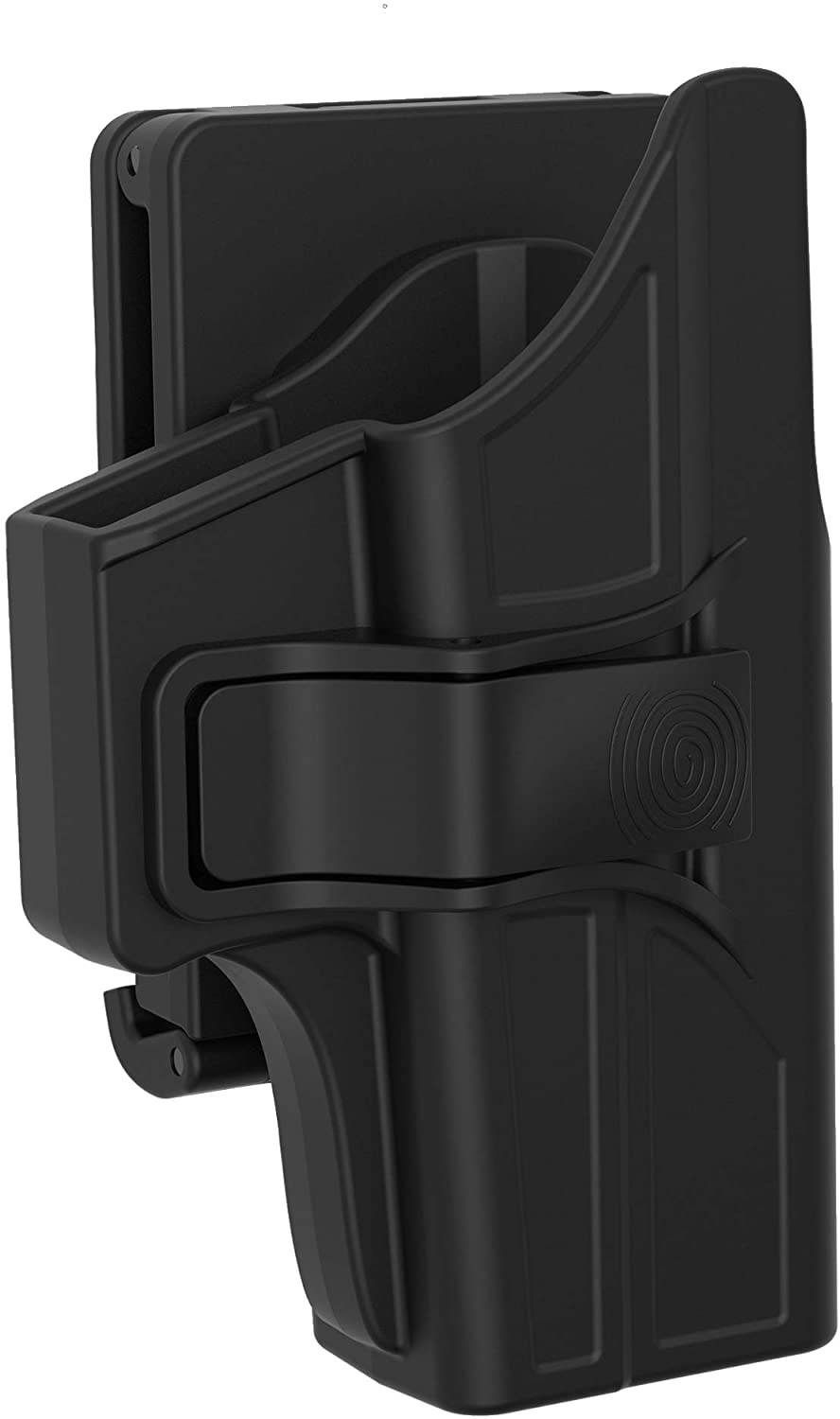 TEGE OWB Holster Compatible with Glock 43 43X, Index Finger Release Holster Fits G43 G43X, Tactical Polymer Outside Waistband 360° Adjustable Belt Holster, Open Carry Holster, Right-Handed