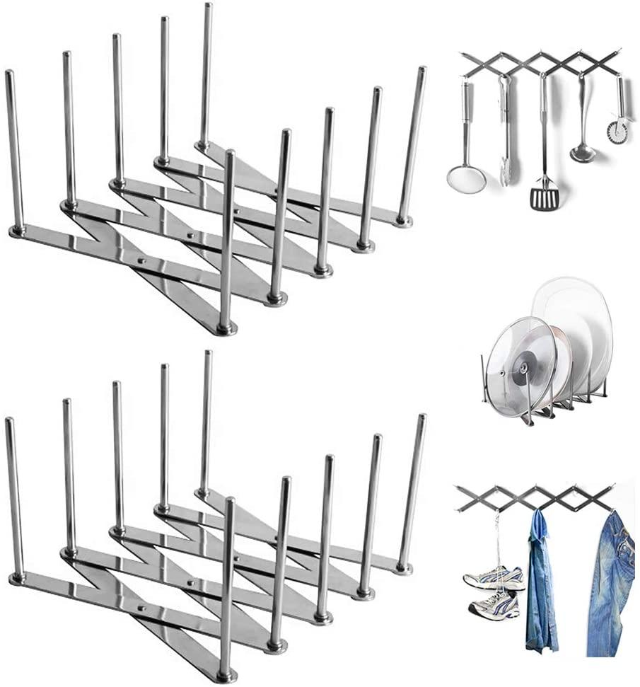 Extendable Kitchen Bathroom Bedroom Shelves Wall Mounted Rack Utensil Racks,Wall Mounted Kitchen Utensils Hanging Hooks Kitchen Tools/Pot/Towel/Knife/Mug/Cups Storage Holder Shelf