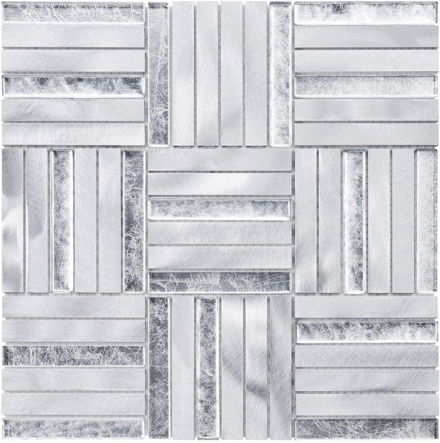Modket TDH369AL Aluminum Metallic Metal Silver Foil Glass Insert Basketweave Parquet Modern Mosaic Tile Backsplash Kitchen Bath Bathroom Shower Interior Wall