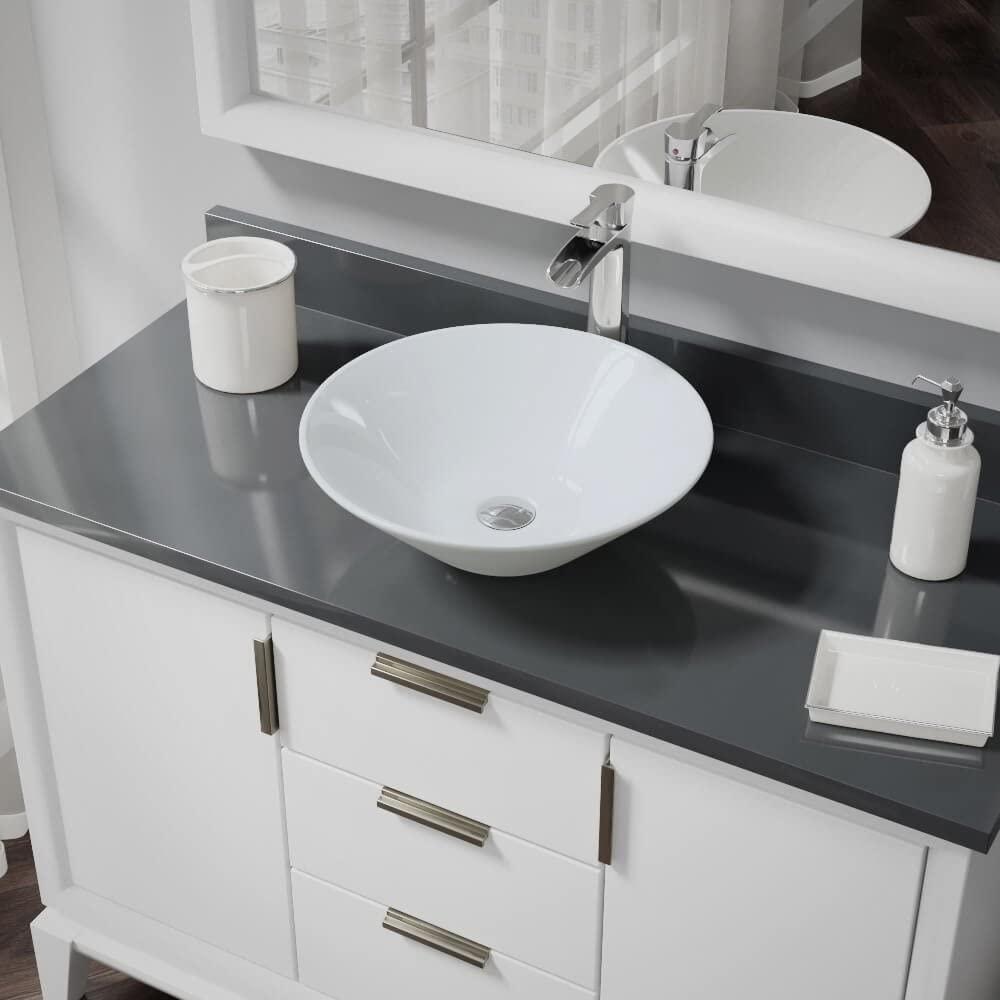 R2-5015-W-R9-7007-C White Porcelain Vessel Sink with Chrome Vessel Faucet and Vessel Pop-Up Drain