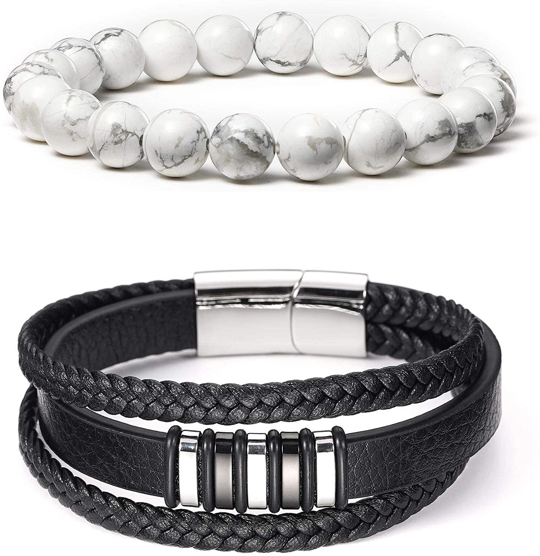 BINLUN 2Pcs Black Braided Genuine Leather Bracelet & 8mm White Turquoise Beads Elastic Bracelet Natural Stone Yoga Bracelet for Women Men (A1-9)