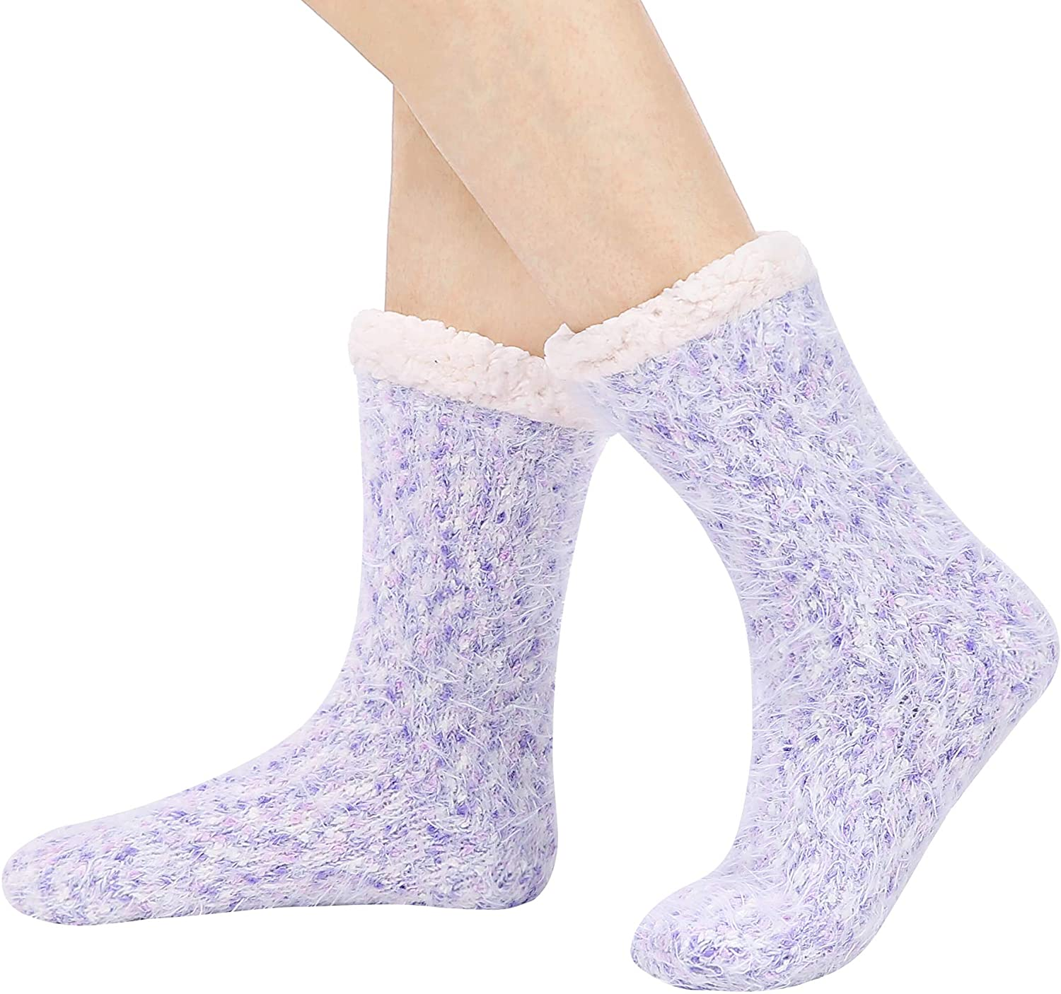 Winter Warm Womens Sherpa Fuzzy Slipper Socks with Silicone Grippers