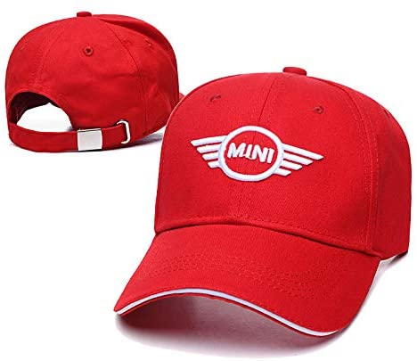 JDclubs Mini Logo Embroidered Adjustable Baseball Caps for Men and Women Hat Travel Cap Car Racing Motor Hat (red)