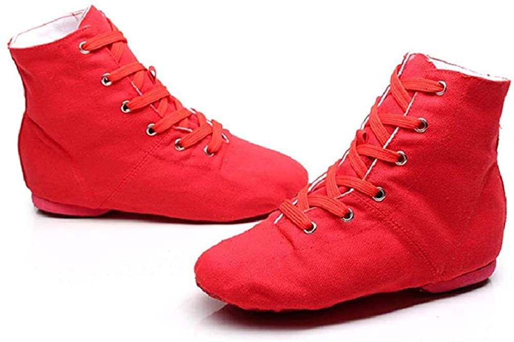 NLeahershoe Dance Shoes Lace up Jazz Danceing Boot Shoes for Canvas Shoes for Unisex Childrens (12.5 M US 29, red)