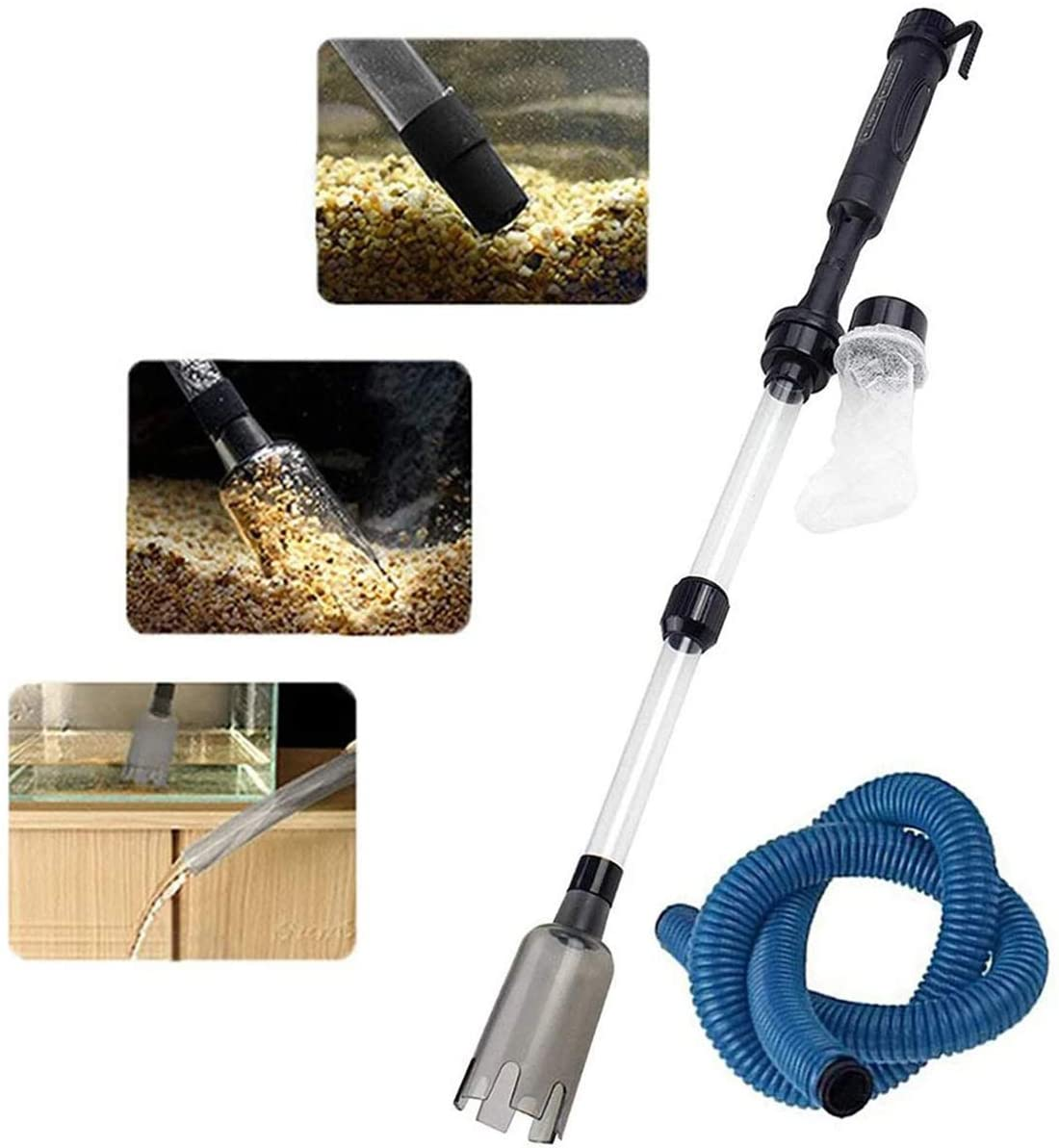 Aquarium Siphon Gravel Cleaner,Fish Tank Vacuum Cleaner Water Change Sand Washer Cleaning Tool