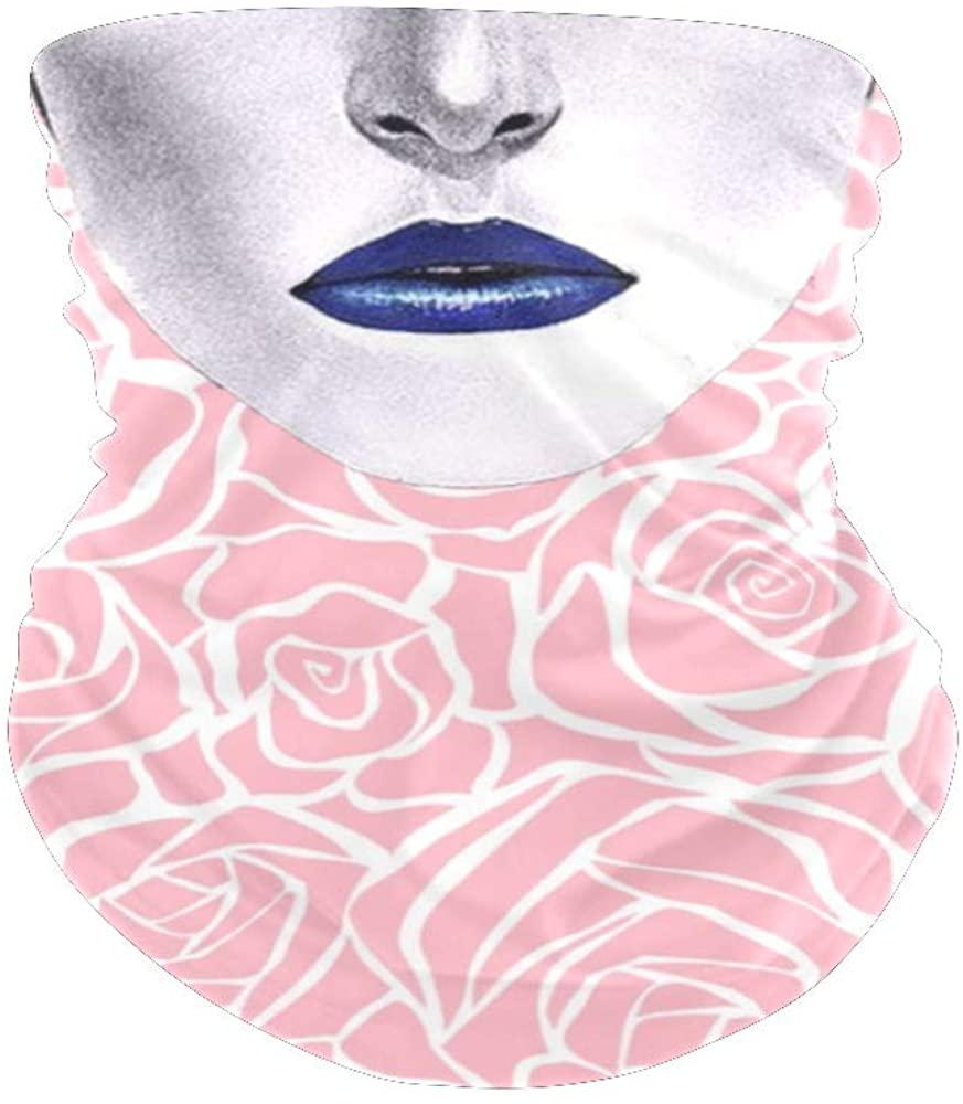 Balaclava Face Mask Neck GaiterBlack&White Roses BlossomBandanas for Out Doors, Festival,Sport