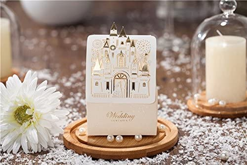 Saitec Hot Sale Pack of 50ps Romantic Castle Favors And Gifts Baby Shower Elegant White Luxury Decoration Laser Cut Party Wedding Paper Candy Box For Guest SIT1686