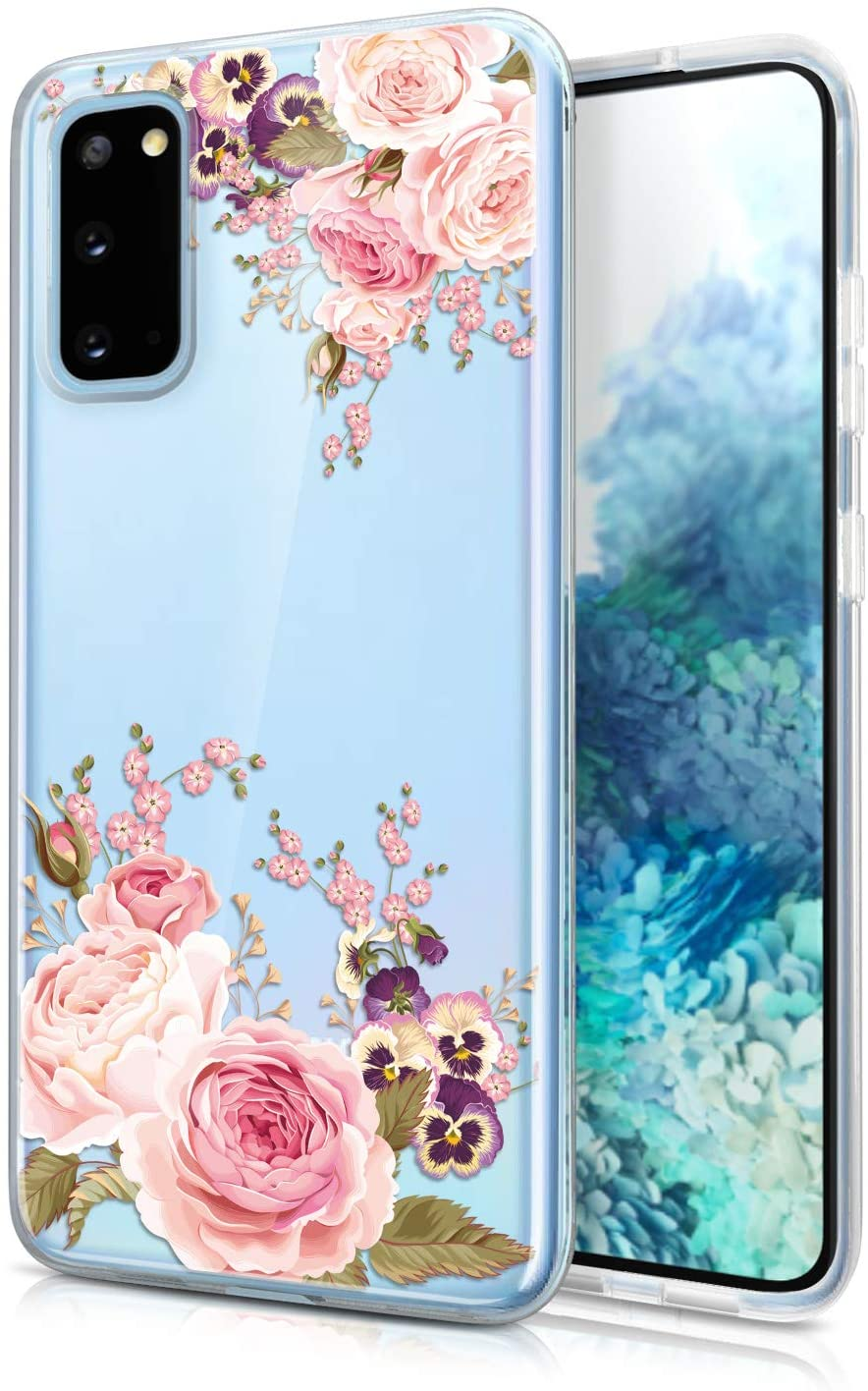 JAHOLAN Galaxy S20 FE Case Clear Cute Girl Flower Design Flexible Bumper TPU Soft Rubber Silicone Cover Phone Case for Samsung Galaxy S20 FE 5G 6.5 inch - Floral Flower Rose