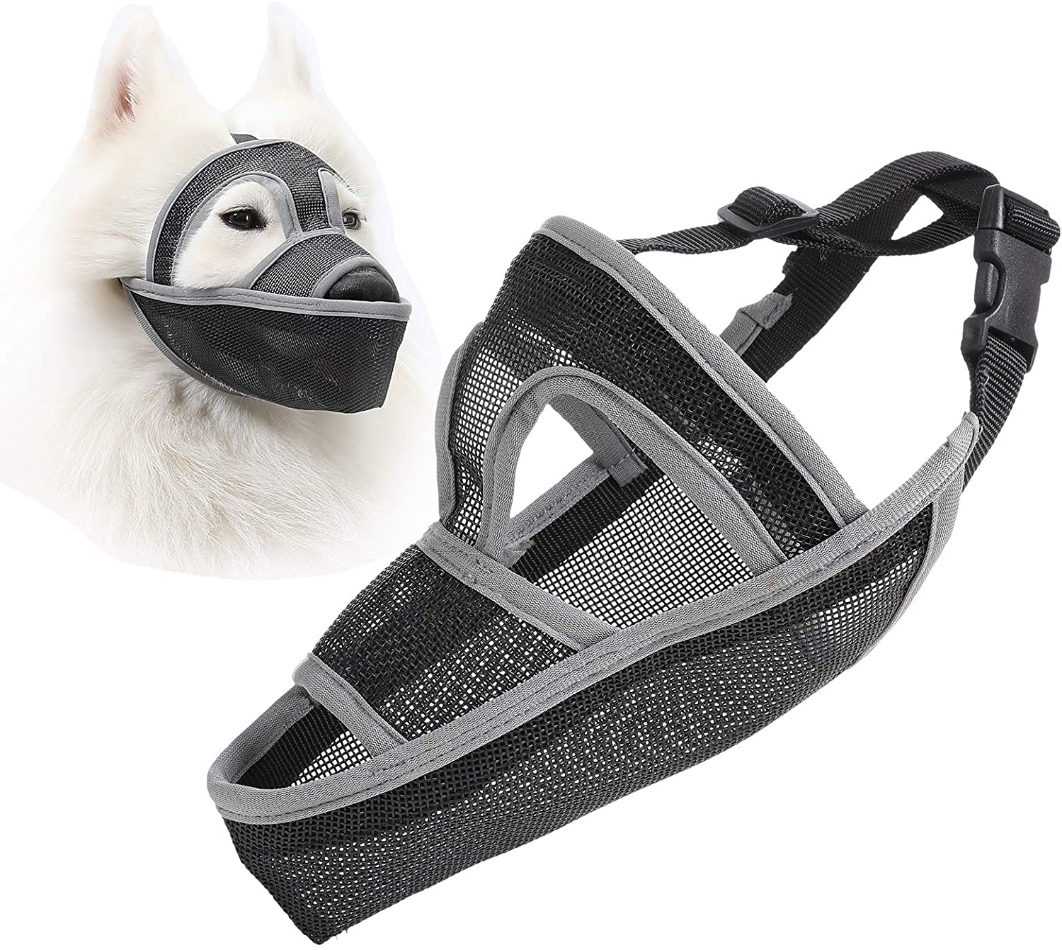 Mayerzon Dog Muzzle, Breathable Mesh Muzzle for Biting, Licking Wound and Unwanted Chewing, 6 Sizes for Small, Medium and Large Dogs, Able to Drink and Feed