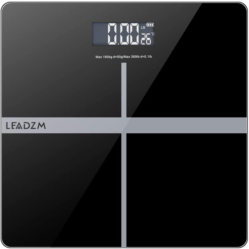 Aslion Personal Scale with Step-on Technology, LEADZM 28cm 180Kg/50g Weighing Bathroom Scale Unit Switchable Scale, Smart Digital Weight Scale, LCD Digital Display