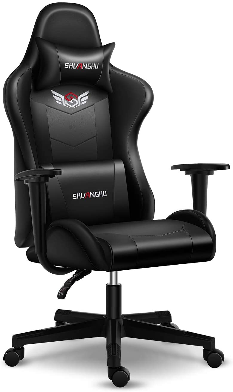 Shuanghu Gaming Chair Office Chair Ergonomic PC Computer Chair with Retractable Footrest Reclining Racing Chair with Headrest and Lumbar Support Gaming Chair for Adults Teens Desk Chair (Black+ Clear)