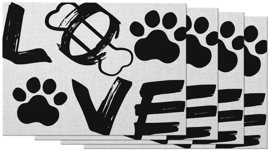 Moslion Love Placemats Puppy Paw Print Adorable Dog Bones Hand Drawn Letter Abstract Art Cool Table Placemats for Dinning Table Washable Cotton Linen 12x18 Inch, Set of 4