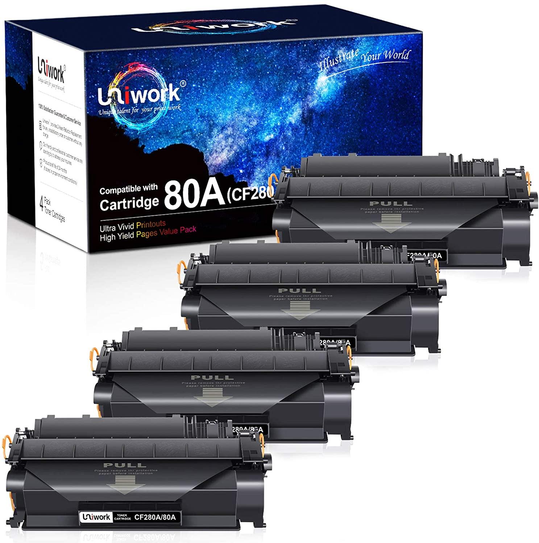 Uniwork Compatible Toner Cartridge Replacement for HP 80A CF280A 80X CF280X 05A CE505A for Laserjet Pro 400 M401A M401D M401N M401DN M401DNE M401DW, MFP M425DN Printer (4 Black)