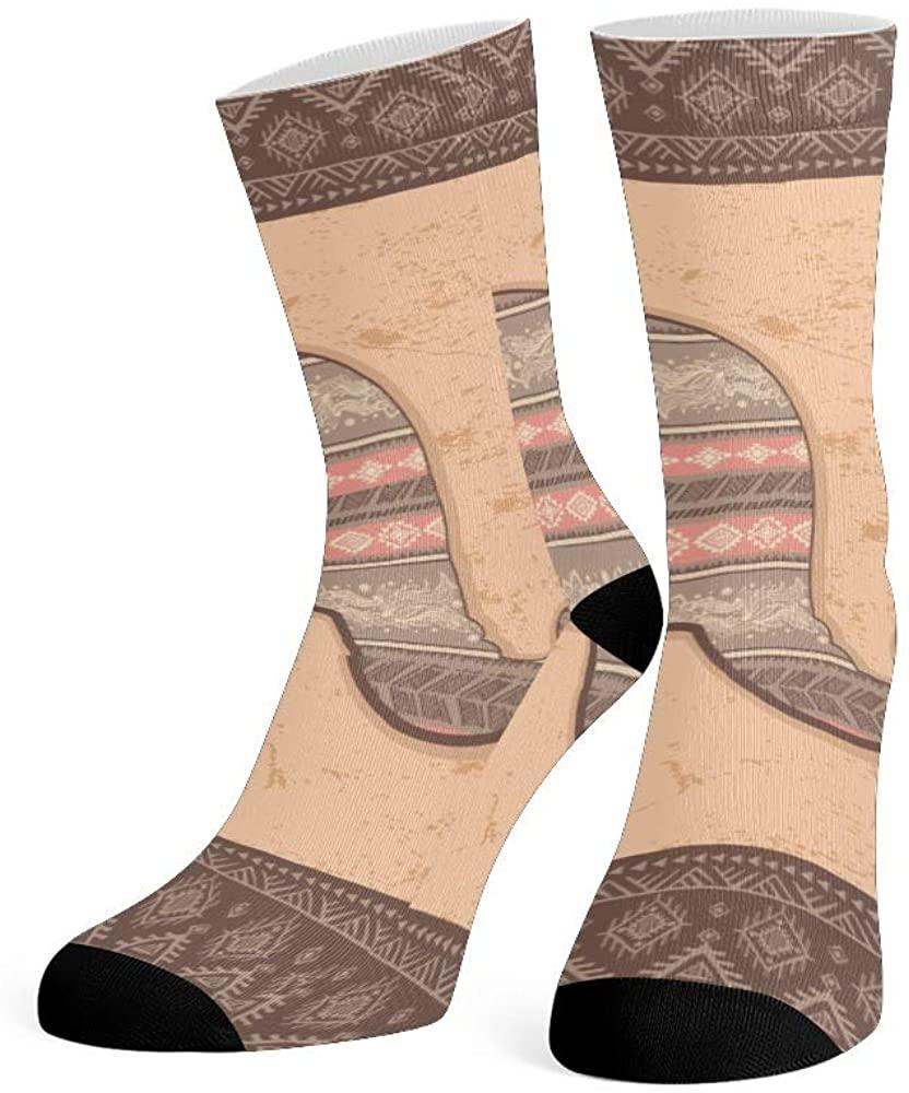 XOZOTY Custom Funny Novelty Vintage Lotus Elephant Crew Socks for Mens Womens
