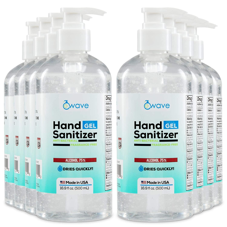 Wave Gel Hand Sanitizer | Advanced No-Rinse Gel | 75% Alcohol | Made in USA | 8 Pack of 16 Fl Oz Bottles