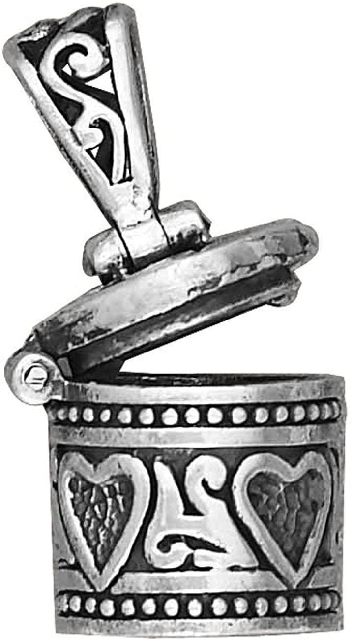 Sterling Silver Girls .8mm Box Chain Round Prayer Box Locket Pendant Necklace