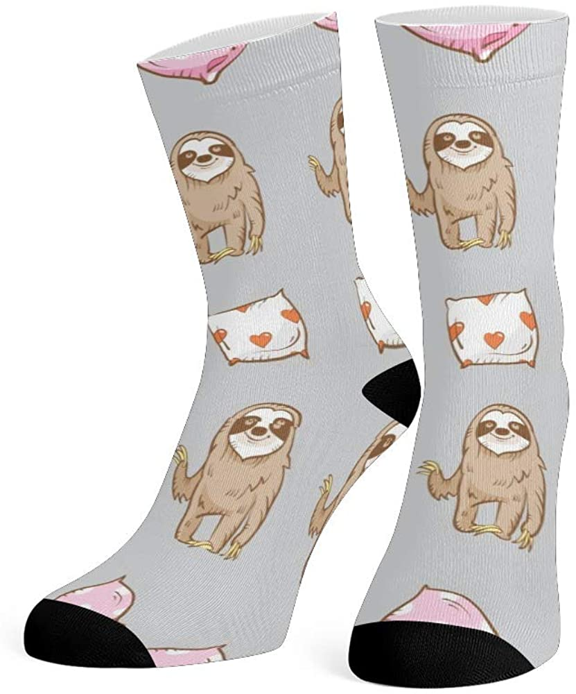 XOZOTY Custom Funny Novelty Christmas Candy Sloth Crew Socks for Mens Womens