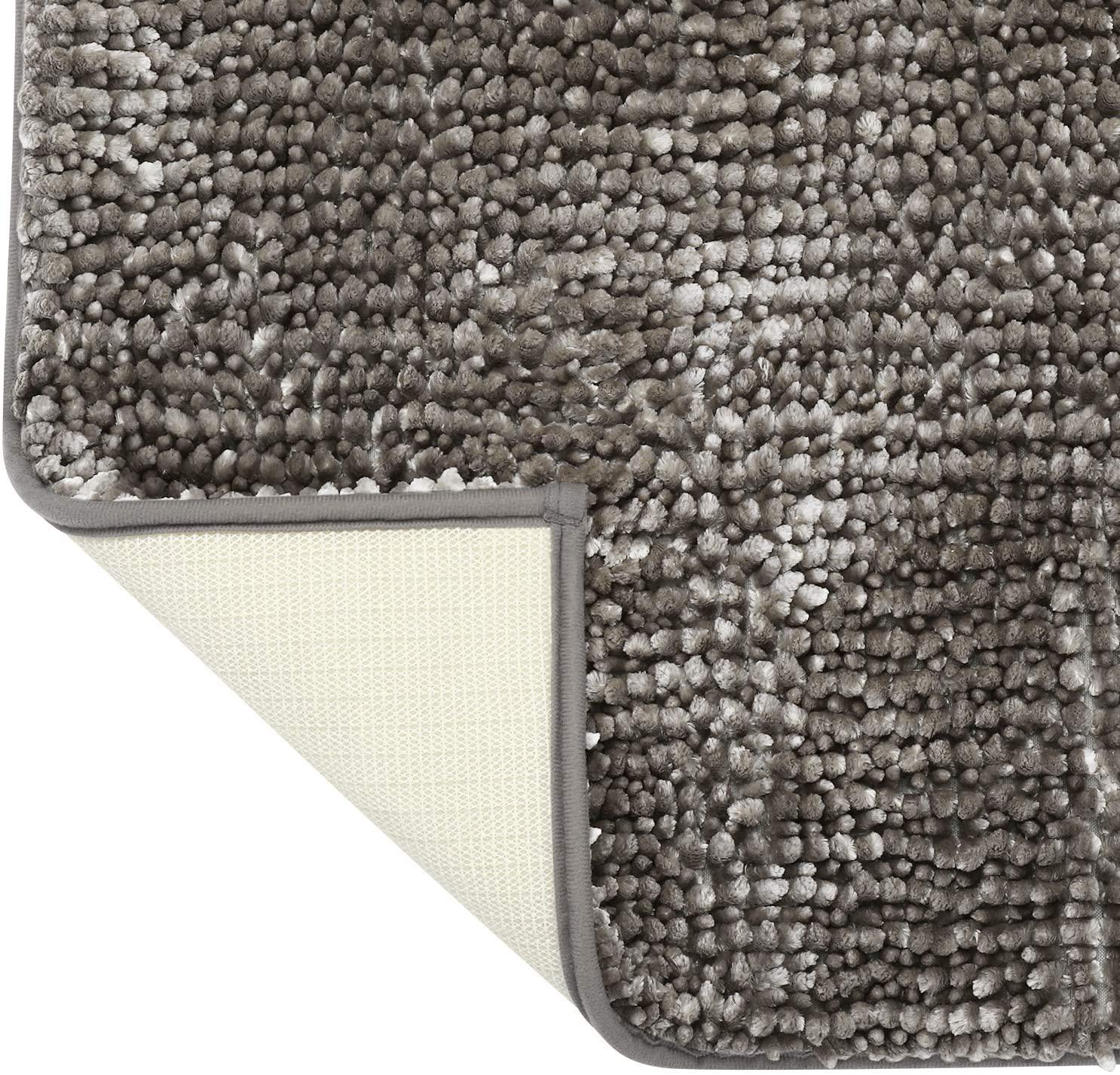HOMEIDEAS Luxurious U-Shaped Contour Mat - Chenille Taupe Grey Bathroom Rug Mat Butter Absorbent Non Slip - Extra Soft Shag Bath Rug, Bath Mat for Tub, Shower & Bathroom - 20x24 inch