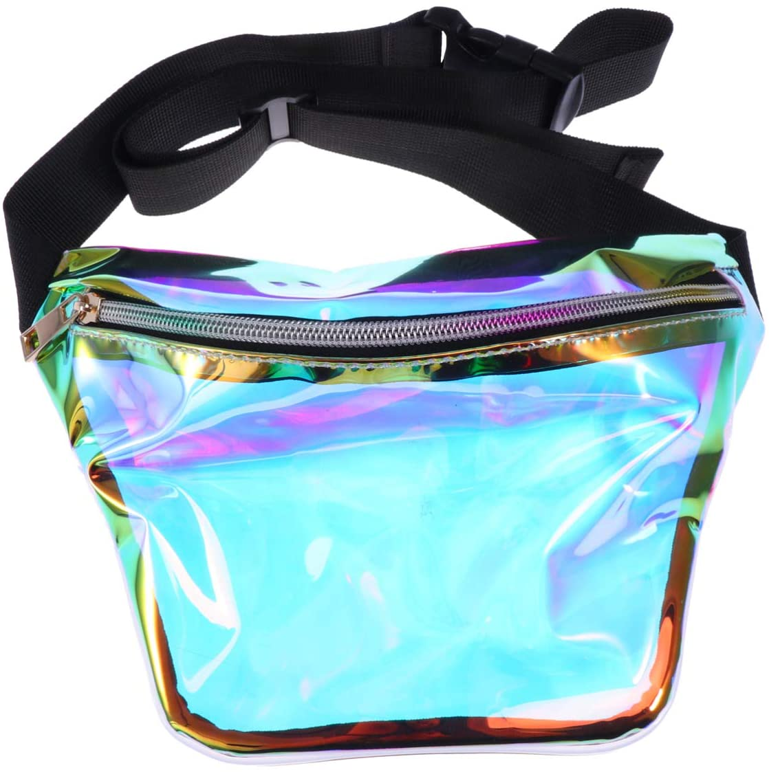 FENICAL Fanny Pack Holographic Waist Bag Clear Chest Bag Waterproof Sling Travel Bag for Women Girls