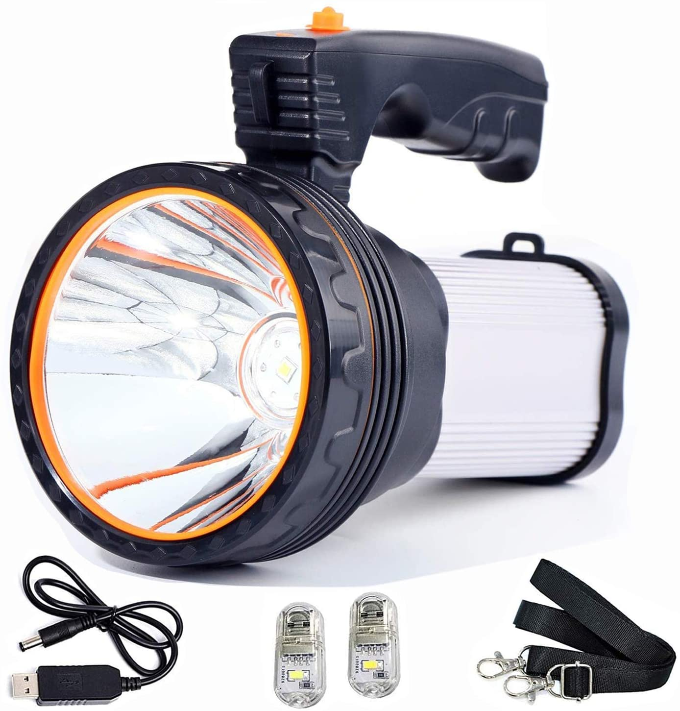 Rechargeable Spot light,Super Bright Handheld Flashlight,LED Torch Lantern High Power IPX4 Waterproof Spotlight Portable Searchlight for Outdoor Camping Adventure Emergency (Silver)