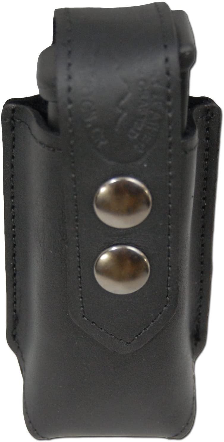 Barsony New Black Leather Single Magazine Pouch for Full Size 9mm 40 45
