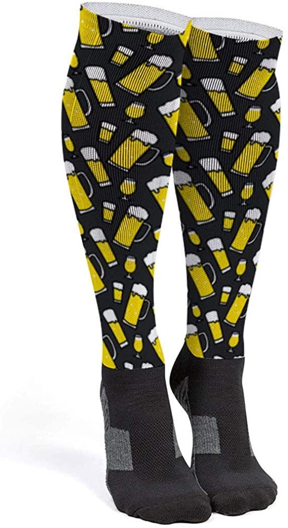 Running Printed Knee-High Socks   Beer Glasses Pattern   Multiple Sizes