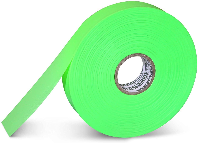 "IncrediSeal Green Tree Flagging Safety Barricade Surveyor Caution Tape, 1"" x 500 Feet, 4 Mil, Marking, High Visibility Ribbon, Crowd Safety, Trail, Marathon (36 Rolls, Green)"