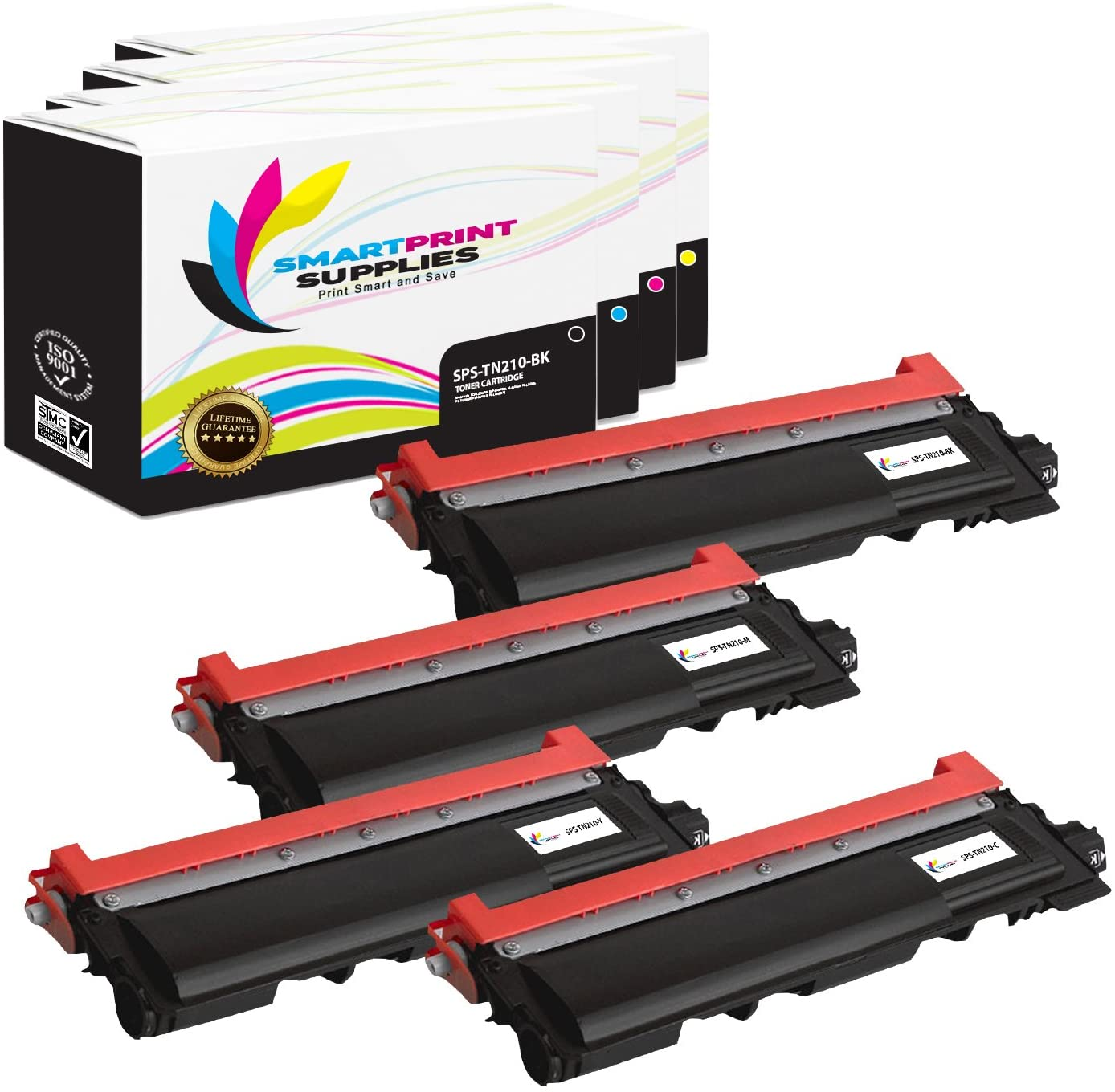 Smart Print Supplies Compatible TN-210 TN210 TN210BK TN210C TN210M TN210Y Toner Cartridge Replacement for Brother HL-3040CN 3070CW, MFC-9010CN 9120CNW 9320CW Printers (BK, C, M, Y) - 4 Pack