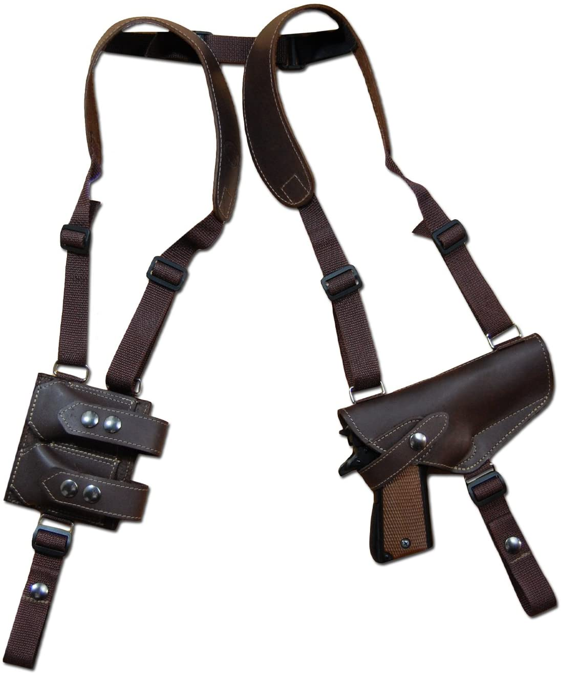 Barsony New Horizontal Brown Leather Shoulder Holster w/Dbl Mag Pouch for Full Size 9mm 40 45