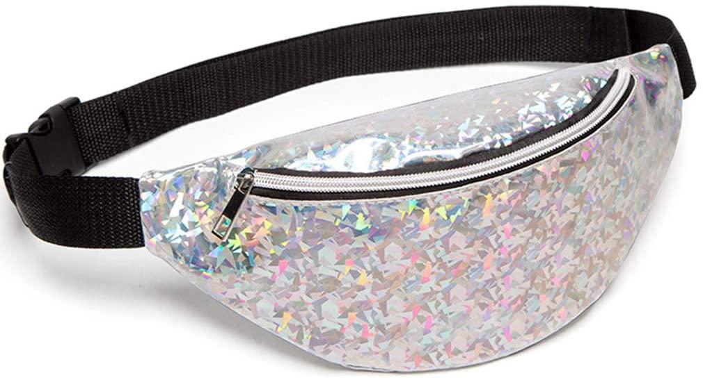 FEIlei Sports Pockets, Fashion Women Waist Fanny Pack Belt Pouch Travel Purse Hip Bum Shoulder Bag- Silver