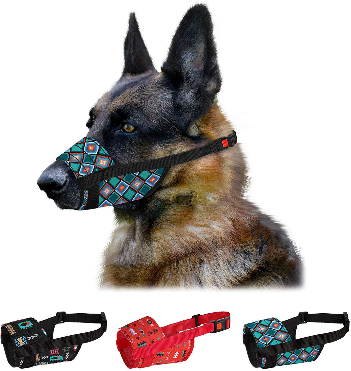 CollarDirect Dog Muzzle for Small Medium Large Dogs Soft Breathable Nylon Safety Pattern Mouth Cover Anti Biting Barking Print Pet Muzzles