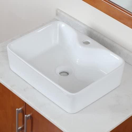 ELITE Bathroom Rectangle Long Ceramic Porcelain Vessel Sink for Vanity,Faucet