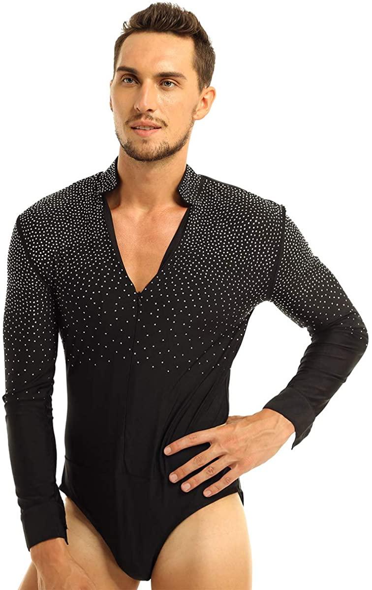 TiaoBug Men's Shiny Rhinestones V-Neck Unitard Ballroom Modern Latin Dance Shirt Bodysuit Leotard Tops