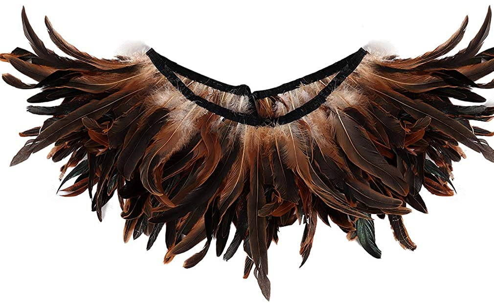 Women's Feather Harness Shawl Epaulette Punk Women's Day Wings Carnival Gothic Adjustable 2 Ways to Wear Costume Accessories