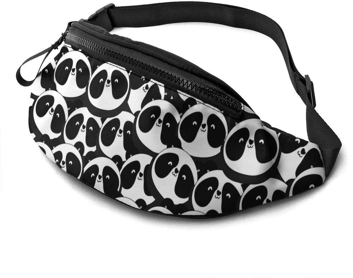 Dujiea Fanny Pack, Cute Cartoon Pandas Waist Bag with Headphone Hole Belt Bag Adjustable Sling Pocket Fashion Hip Bum Bag for Women Men Kids Outdoors Casual Travelling Hiking Cycling