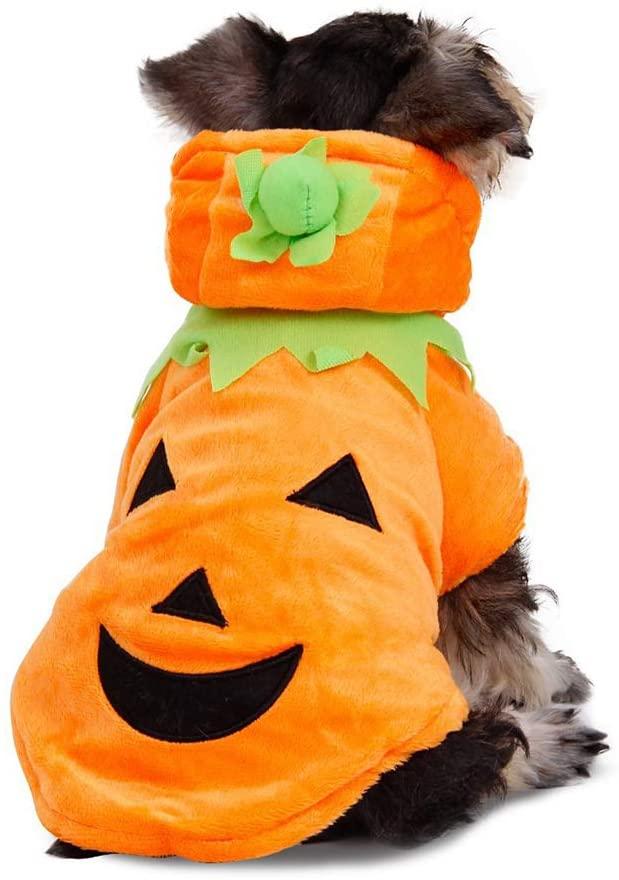 NACOCO Dog Pumpkin Costume Cat Halloween Clothes Puppy Fleece Hoodie Pet Coat for Small to Medium Dogs