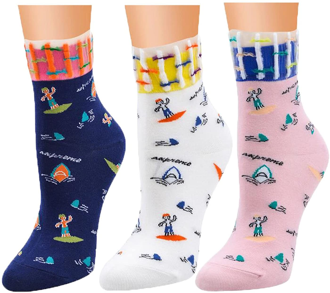 Underwater World Patterned Cartoon Stockings Lace-trim Women Girls Cotton Funny Cute Socks 3-8 Pack
