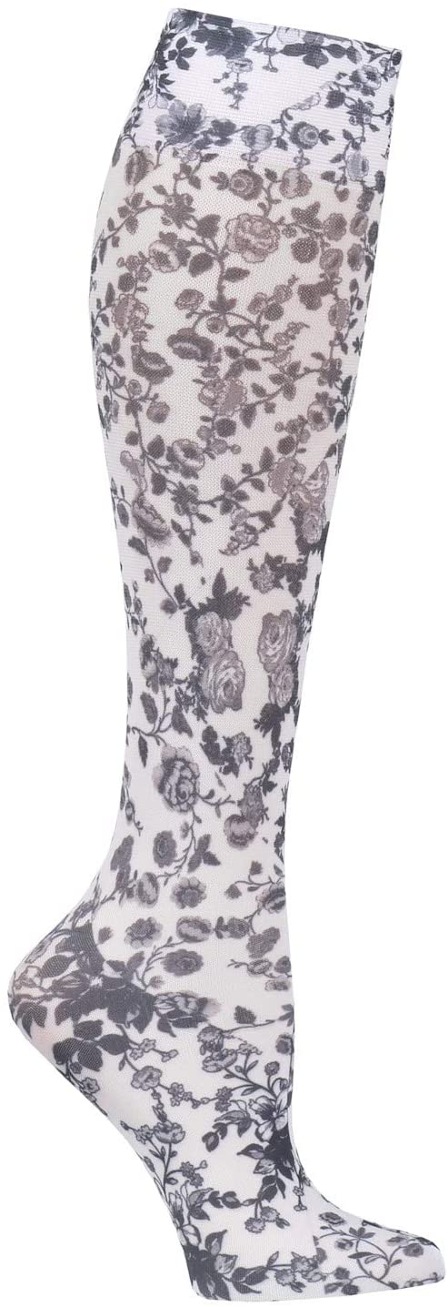 Celeste Stein Moderate Compression Knee High Stockings Wide Calf - White and Black Floral