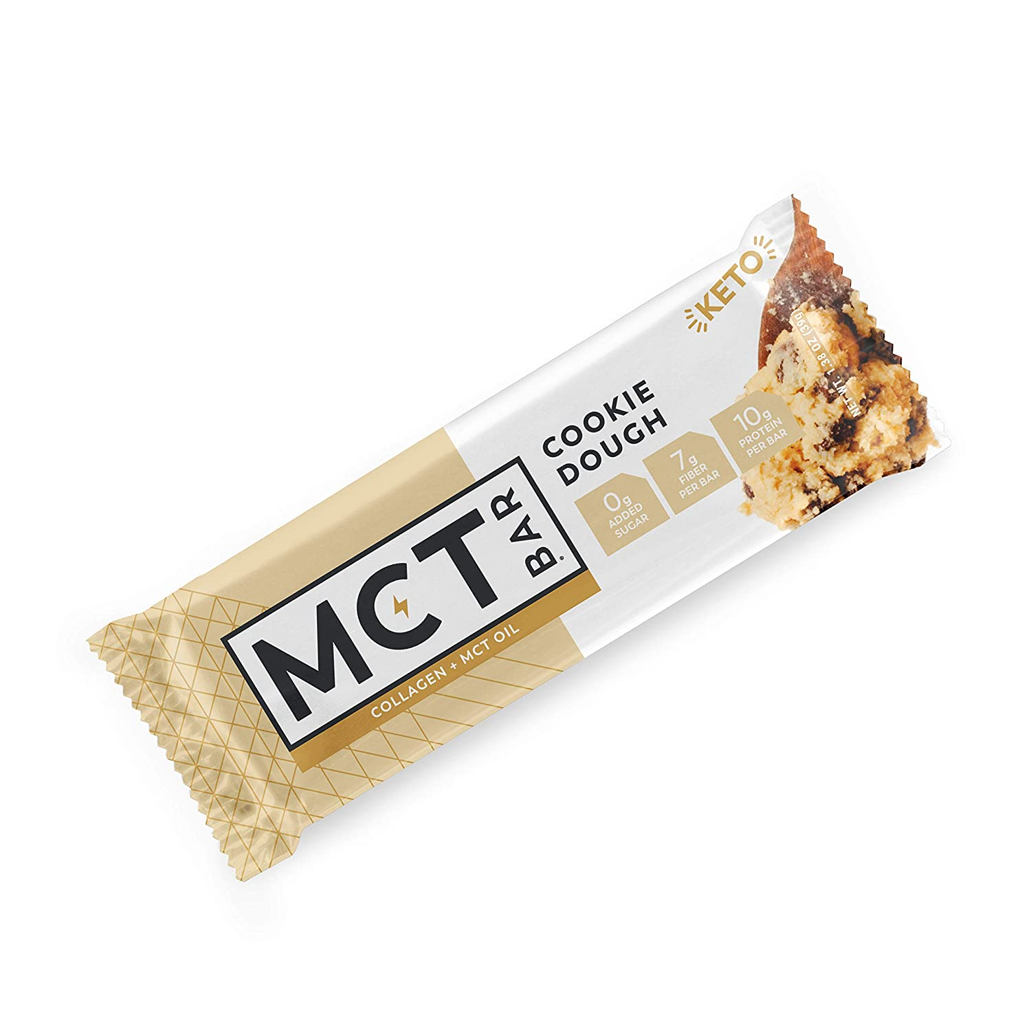 MCTBar Keto Protein Snack Bar, Cookie Dough (36 Pack) - Free of Gluten, Dairy, Soy & GMOs | 0g Added Sugar, Low Carb | Organic MCT Oil, Collagen, Fiber, Natural Monk Fruit