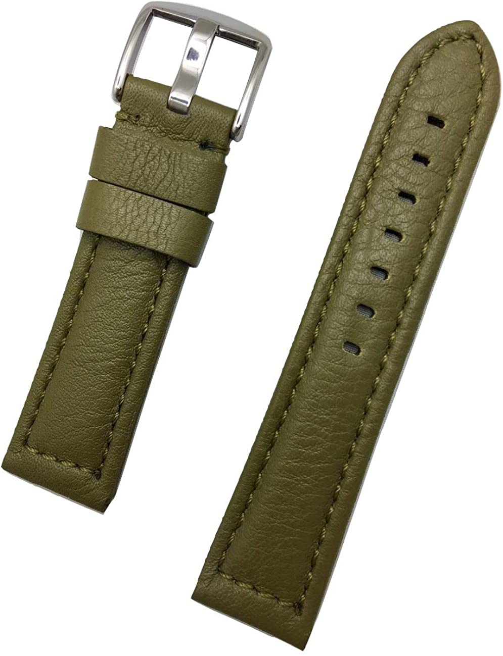 22mm Green Panerai Style Genuine Leather Watch Band | Soft, Smooth, Medium Padded Replacement Wrist Strap Bracelet That Brings New Life to Any Watch (Mens Standard Length)