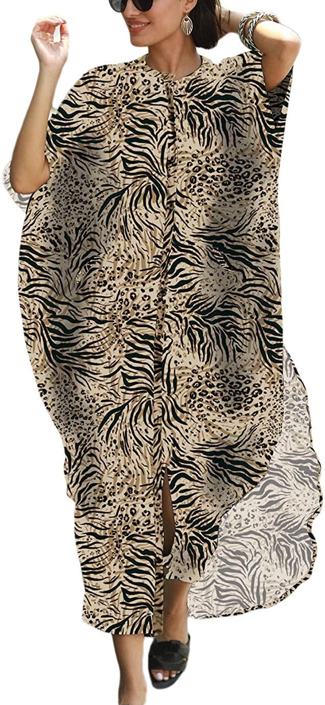 Eddoyee Plus Size Long Kaftan Dresses for Women Button Up Beach Shirt Swimsuit Cover Up
