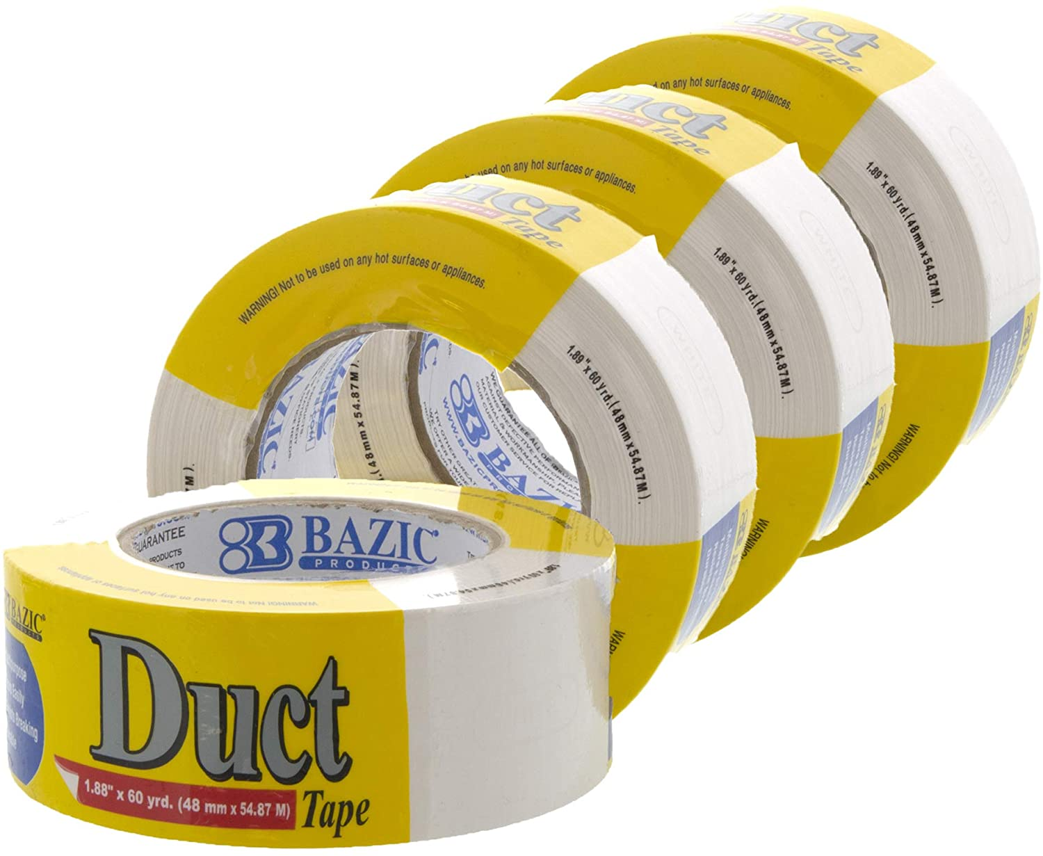 BAZIC 1.88 Inch X 60 Yards White Colored Duct Tape, Wide Multi Use for Home Office Improvement Projects Indoor & Outdoor, Resist Breaking Durable, 4-Pack