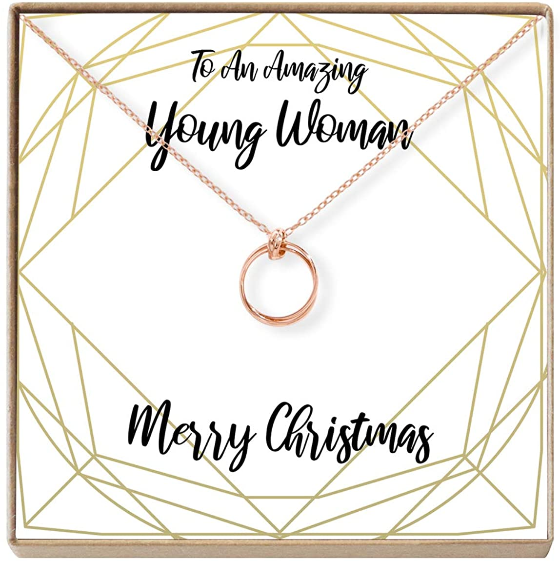 Dear Ava for Teen Necklace: Girl, Teenager, Preteen, Present, Holiday, 2 Linked Circles (Rose-Gold-Plated-Brass, NA)
