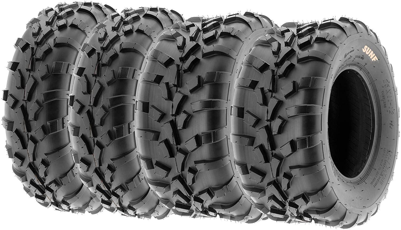Set of 4 SunF A010 25x8-12 Front & 25x10-12 Rear ATV UTV Lawn Mowers Tires, 6 PR, Tubeless